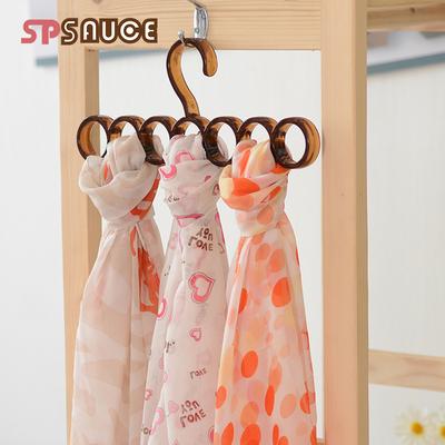 日本创意圈圈围巾架子丝巾架皮带收纳挂架多功能塑料晾晒挂衣服架