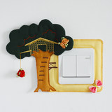 New fabric switch cover Manual wall sticker switch sticker socket wall fire stick tree house