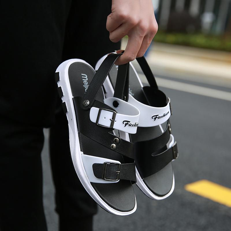 夏季新款透气塑料凉鞋男拖鞋韩版潮男鞋两用凉拖沙滩鞋室外外穿