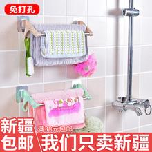 包邮 强力贴吸盘毛巾架双杆强力贴吸盘浴巾架卫浴挂件无痕新疆