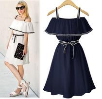 夏季欧美大码女装吊带露肩荷叶边收腰系带中长款连衣裙