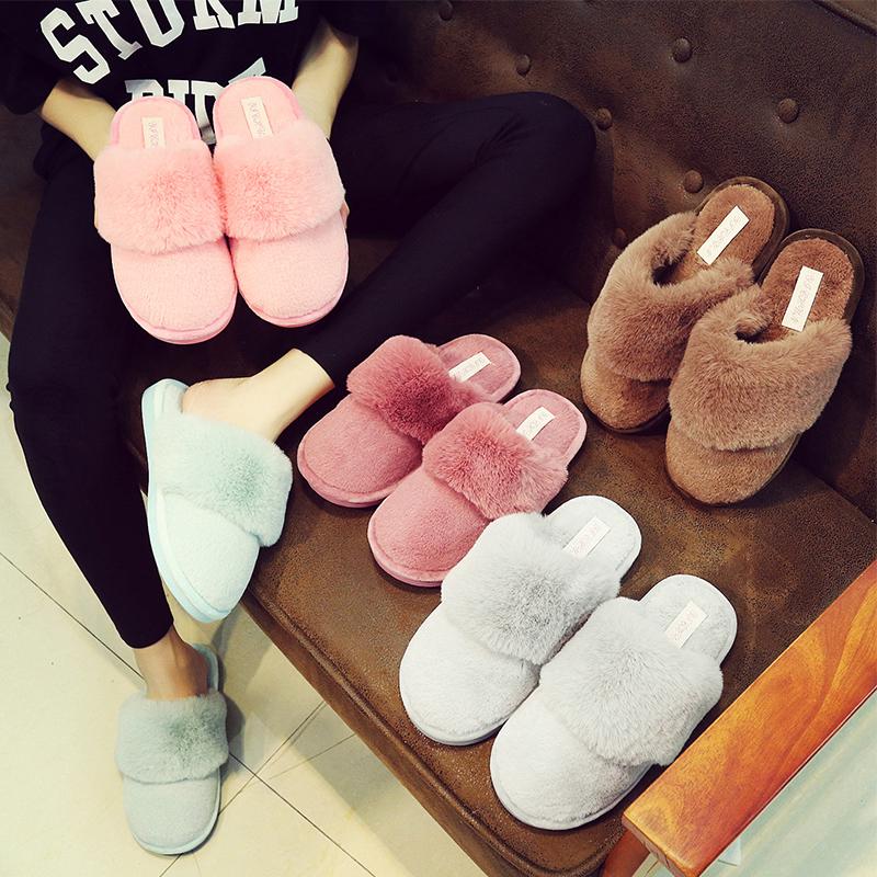 韩版毛毛鞋棉拖鞋女冬季可爱防滑拖鞋保暖棉拖鞋厚底月子鞋秋男