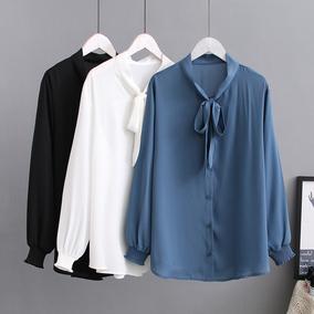大码女装打底衫2019春新款加大码时尚洋气减龄蝴蝶结系带雪纺衬衫