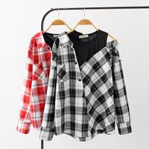 2018秋装女装新款加肥加大码胖MM韩版时尚斜肩格子假两件长袖衬衫