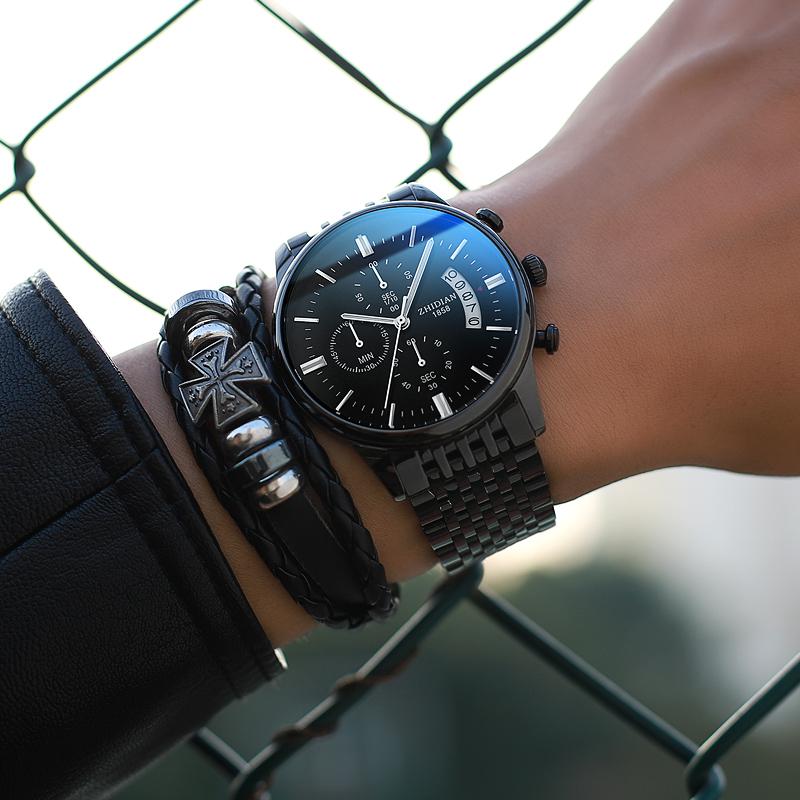 2019新款概念全自動機械表韓版潮流學生鋼帶手表男士石英防水男表