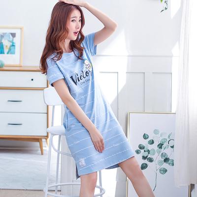 韩版睡裙女夏天纯棉短袖中裙甜美可爱加肥大码睡衣少女士家居服夏