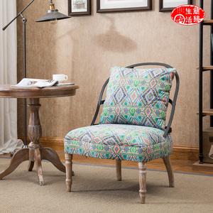 工业风铁艺美式布艺咖啡馆服装店铺阳台休闲单人复古北欧小沙发椅