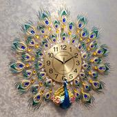饰静音时钟 孔雀钟表挂钟客厅欧式卧室房间玄关酒店家用墙面创意装图片
