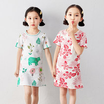 Childrens nightdress short-sleeved princess skirt Summer Girls cotton baby thin section of the little girl pajamas in the Big child home skirt