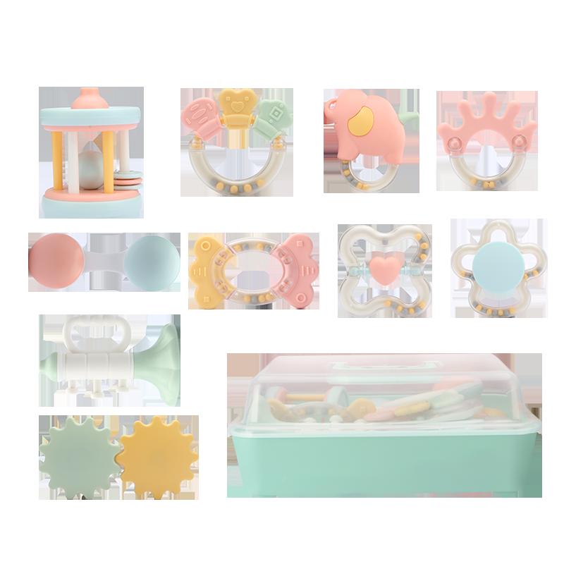 贝恩施婴儿手摇铃0-1岁 新生儿宝宝早教益智牙胶玩具0-3-6-12个月