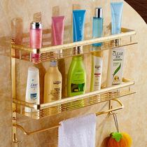 欧式金色浴室置物架太空铝毛巾架卫生间洗澡间卫浴置物架壁挂2层
