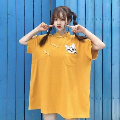2018夏季新款中国风复古少女可爱猫咪刺绣贴布宽松超大版连衣裙子