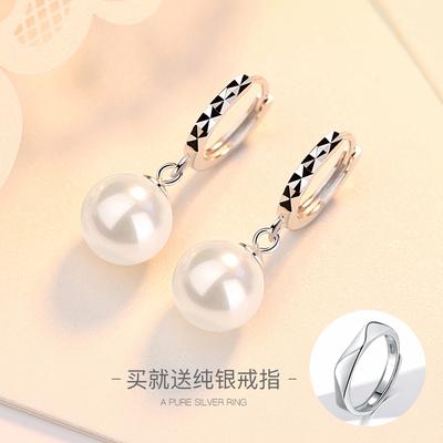 宝缘925纯银珍珠长款耳扣女气质名媛韩国简约耳坠百搭耳环耳钉