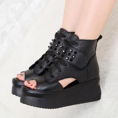 鱼嘴鞋女真皮松糕厚底凉鞋高跟防水台坡跟女鞋春夏新款罗马鞋欧美