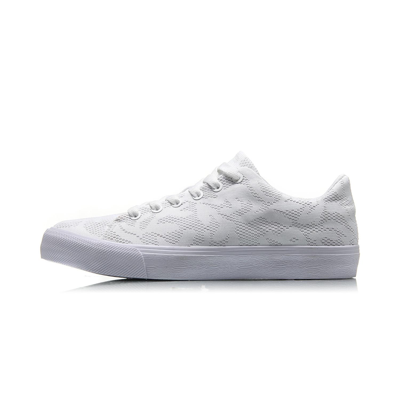 李宁2018新款休闲鞋女鞋璀璨透气一体织滑板鞋小白鞋运动鞋春夏季