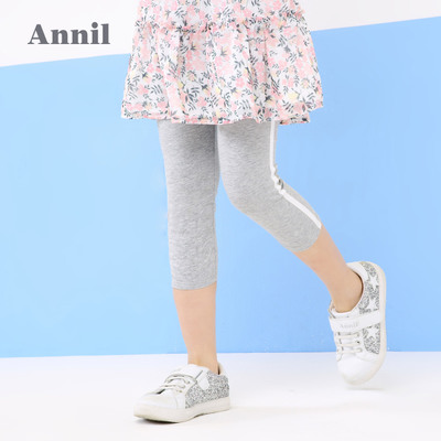 安奈儿童装女童打底裤2018夏季新款白边织带七分休闲裤EG826263