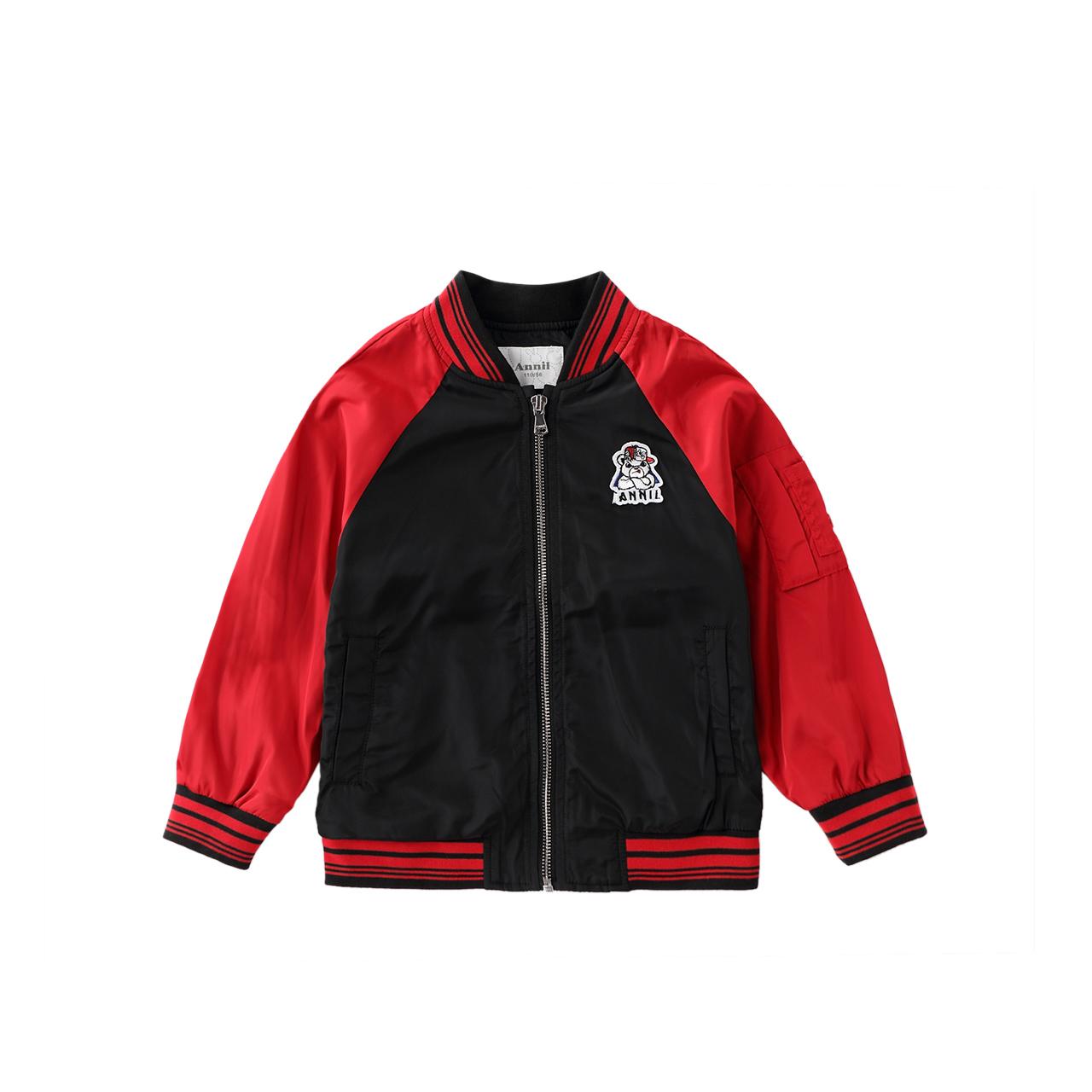 安奈儿童装男童夹克插肩袖2018新款洋气中大童男孩外套春秋装韩版
