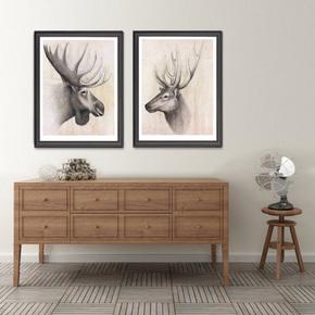 美式客厅沙发背景墙画卧室床头挂画过道简约动物壁画室内装饰画