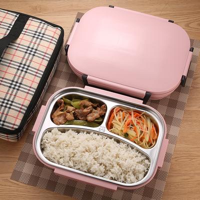 韩式304不锈钢保温饭盒带盖便当盒学生儿童成人食堂分格餐盘餐盒