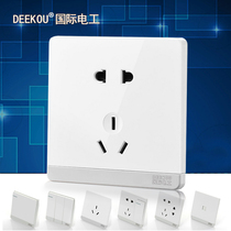 Home switch Socket panel white five hole socket with switch one open wall power set engineering Dark 5