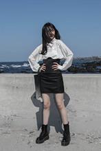 设计感弧形提花超高腰半身裙 LOCALMANSION原创