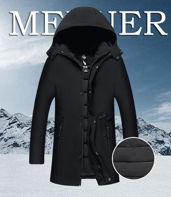 中老年人羽绒棉服男士加厚中长款带帽中年爸爸装冬季休闲棉衣外套
