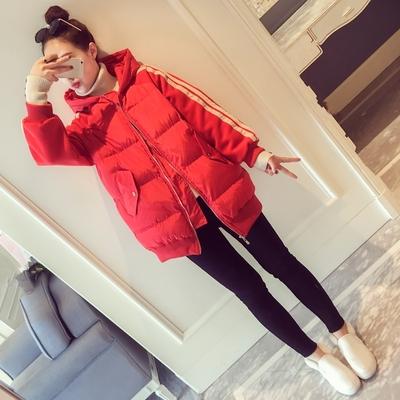 冬季ins棉衣女中长款羽绒chic棉服韩版红色面包服原宿棉袄外套潮