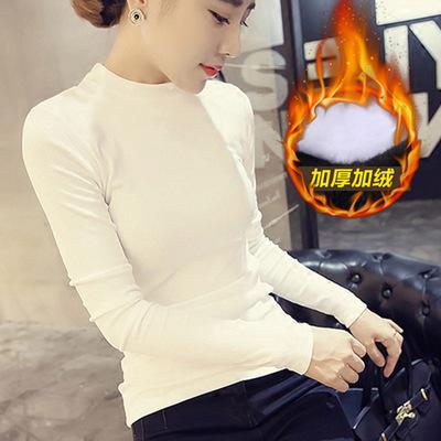 白色保暖内衣女加绒加厚纯棉冬季半高圆领修身上衣简约长袖打底衫