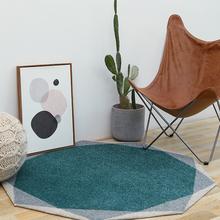 后现代轻奢客厅茶几圆形小地毯 复古设计图案样板房间卧室床边垫