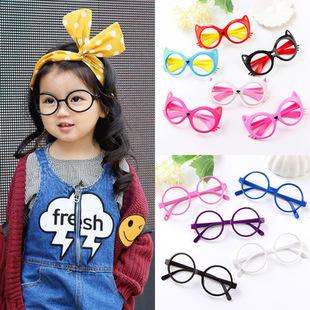 儿童眼镜框可爱无镜片女童宝宝玩具卡通框架小女孩公主圆脸镜框潮