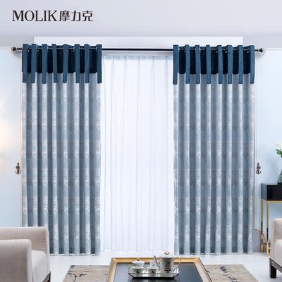 """摩力克 """"叶子"""" 简约现代落地窗帘 卧室客厅书房窗帘定制成品特价"""