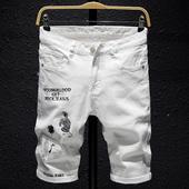 夏季白色牛仔短裤男刺绣五分裤男修身带绣花潮牌七分裤中国风马裤