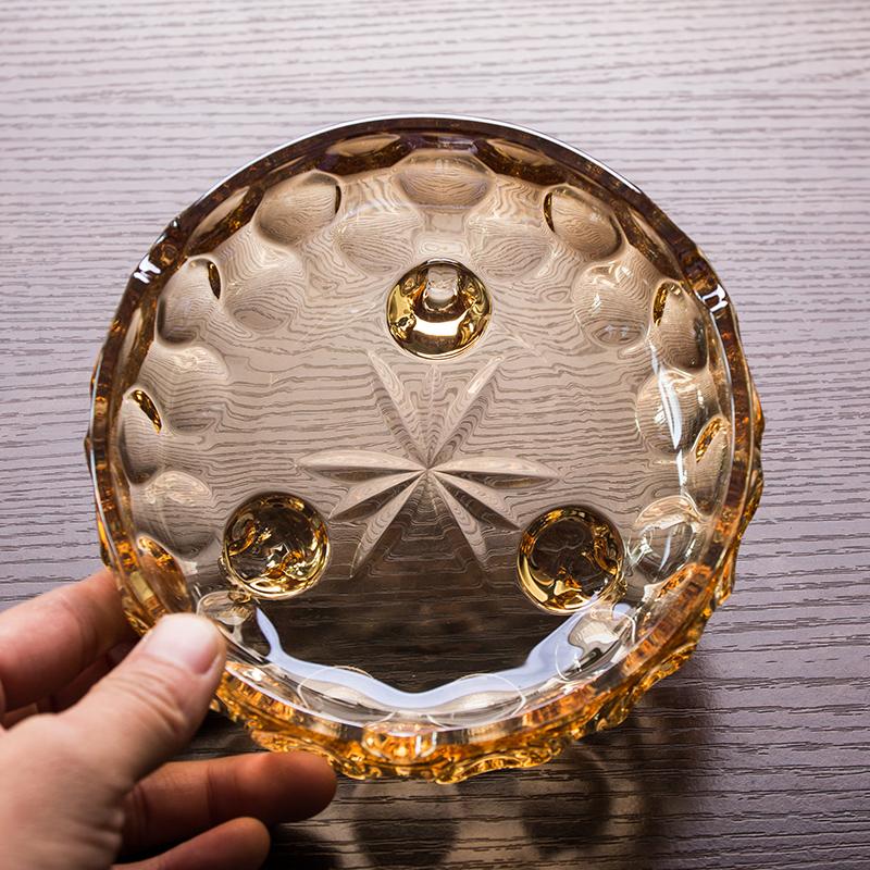 欧唯无铅玻璃烟灰缸  三足烟缸 中式鼎型烟灰缸时尚 金色烟缸