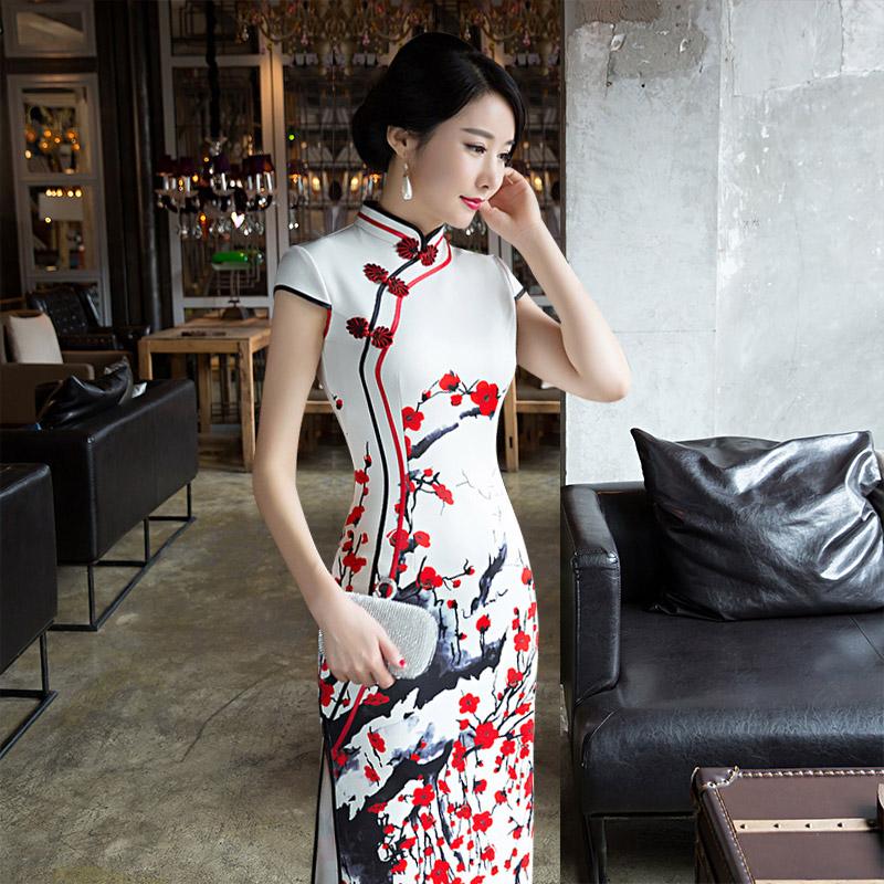 梅花长款旗袍
