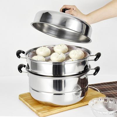 蒸锅不锈钢三层加厚蒸笼3层蒸格1层二2层汤锅双层家用电磁炉锅具多少钱