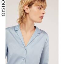Oysho 蓝色缎面棉质V领休闲居家衬衫家居服睡衣女 31080043475
