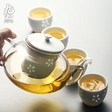 玻璃泡茶壶套装家用玲珑杯花茶壶煮功夫茶壶电炉复古耐热玻璃茶壶
