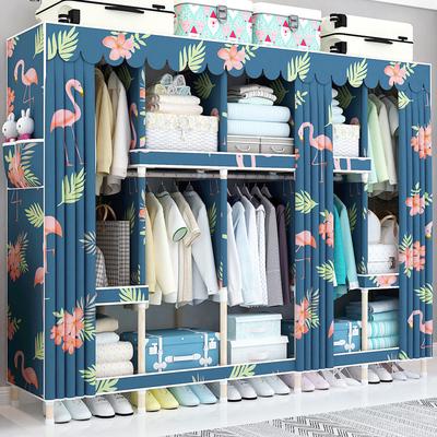 实木25MM加粗衣柜简易布衣柜双人组装布艺收纳简约现代经济型衣橱