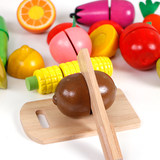 Children's magnetic cutlery kitchen toys wooden girl cut fruit and vegetable combination set wooden men's house