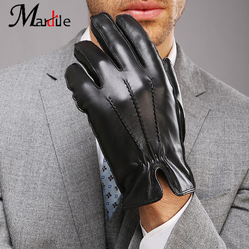 秋冬新款真皮手套男士冬季保暖进口小皮手套 2017 高端品牌玛狄乐
