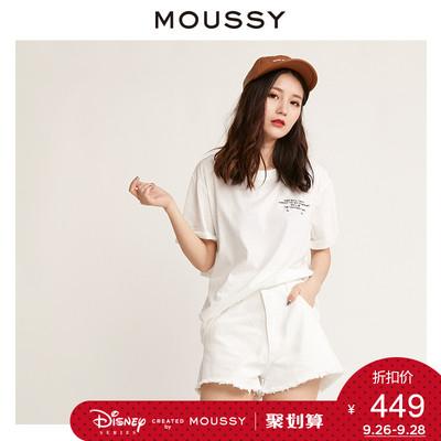 MOUSSY 新品水洗磨白复古毛边牛仔短裤女夏 028AAN11-5030