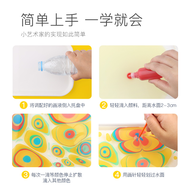 美乐湿拓画水拓画套装儿童初学者无毒浮水画水影画女孩绘画颜料