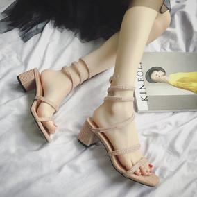 新款蛇形2019凉鞋粗罗马米亚复古女夏高跟鞋水钻中跟风缠绕波西