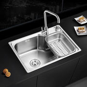 304 stainless steel sink single slot kitchen sink basin sink package thick brushed sink large single slot