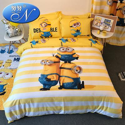 卡通儿童床上用品男孩纯棉四件套全棉床单被套三件套可爱床笠式