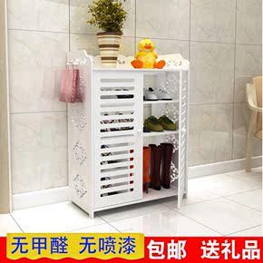 简易鞋架多层欧式实木塑板客厅防尘多功能白色简约鞋柜经济型特价