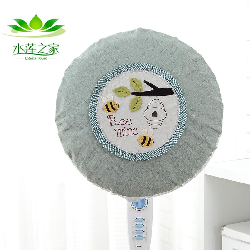 电风扇罩防尘罩子家用全包田园布艺电暖炉套卡通圆形落地式电扇罩