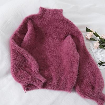 F365冬季新款半高领慵懒风毛衣女马海毛宽松套头网红短款针织衫潮
