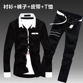 休闲潮流帅气衣服薄外套 长裤 牛仔衬衫 子一套装 韩版 春秋季男士 长袖图片