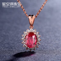 Honey Angel Dai Dai pigeon blood red natural ruby ​​pendant 18k gold inlaid diamond necklace color custom